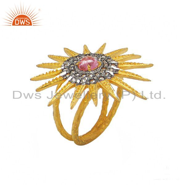 18K Gold Plated Sterling Silver Pink Tourmaline And CZ Textured Cocktail Ring