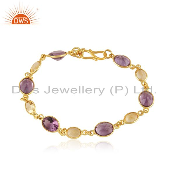 Handmade Sterling Silver Amethyst And Citrine Bracelet With 22K Yellow Gold Plat