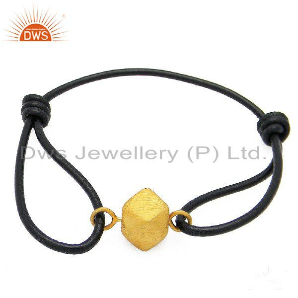 22K Yellow Gold Plated Sterling Silver Spheres Black Cord Macrame Bracelet