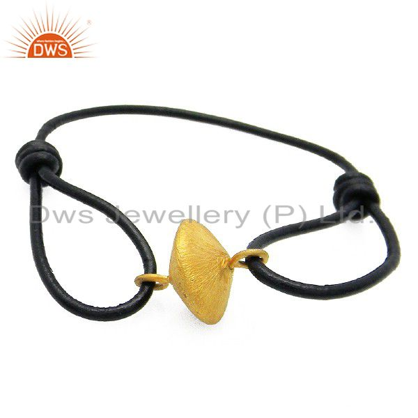 18K Yellow Gold Plated Sterling Silver Matte Charm Adjustable Leather Bracelet