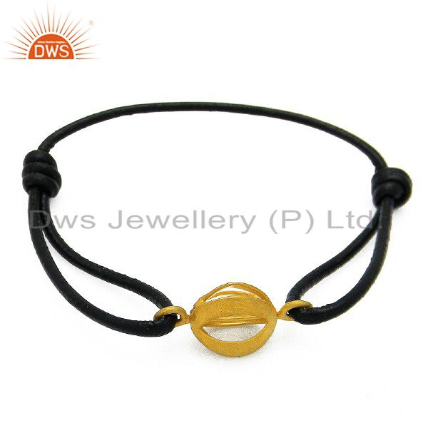22k matte gold plated sterling silver connector black cord macrame bracelet