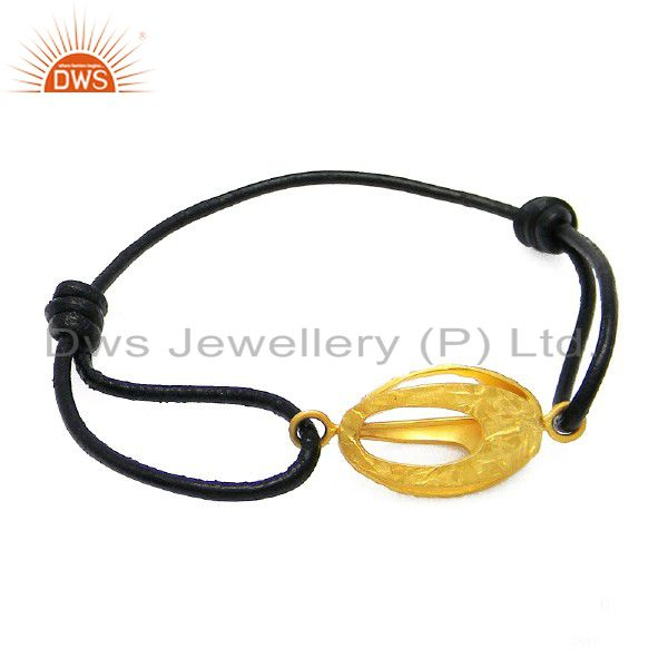 24K Matte Gold Plated Sterling Silver Connector Black Cord Macrame Bracelet