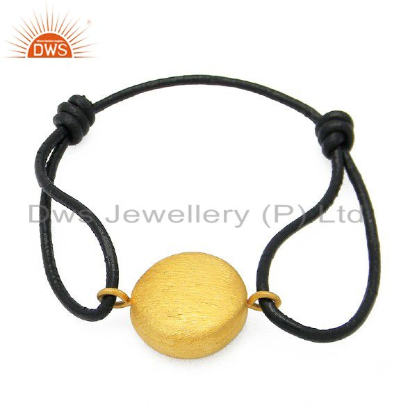 18K Yellow Gold Plated Sterling Silver Charm Adjustable Leather Bracelet