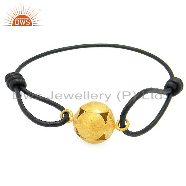 18K Yellow Gold Plated Sterling Silver Sphere Charm Leather Macrame Bracelet