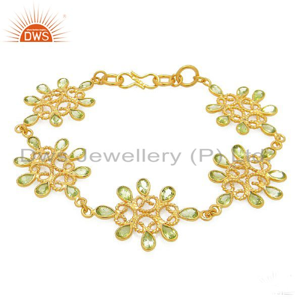 24K Yellow Gold Plated Sterling Silver Peridot Gemstone Designer Bracelet