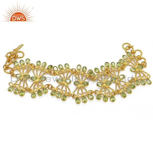 18K Yellow Gold Plated Sterling Silver Peridot Gemstone Designer Bracelet