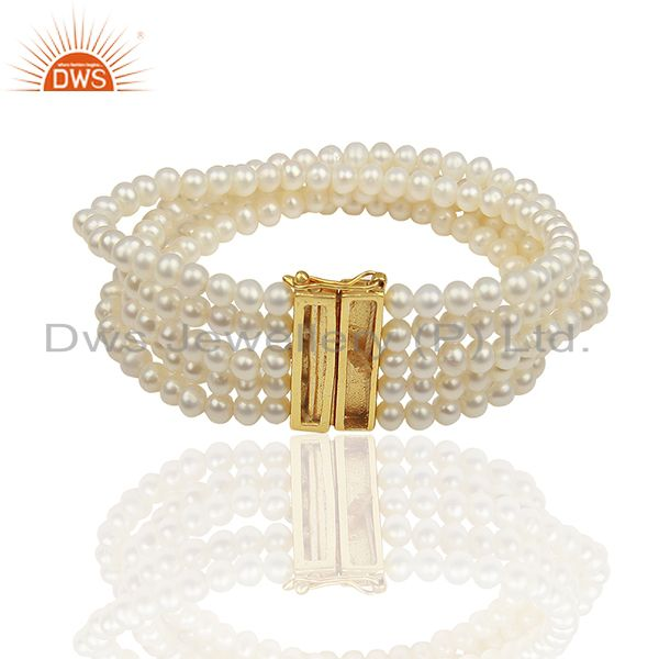 18K Yellow Gold Plated Sterling Silver White Pearl Bead Fashion Bracelet Jewelry