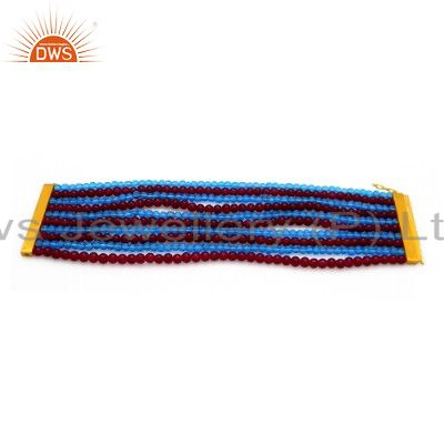 18K Yellow Gold Plated Sterling Silver Red And Blue Glass Beads Fashion Bracelet