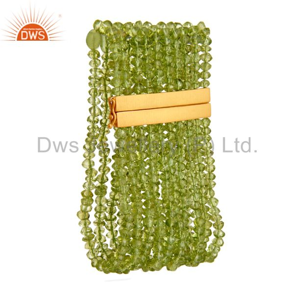 Natural peridot gemstone multi-strand bracelet with gold plated 925 silver clasp