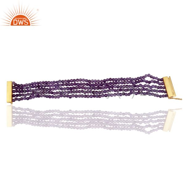 Amethyst Multi Strand 18K Yellow Gold Plated Sterling Silver Bracelet Jewelry