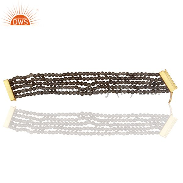 Smoky Quartz Multi Strand 18K Gold Plated 925 Sterling Silver Bracelet Jewelry