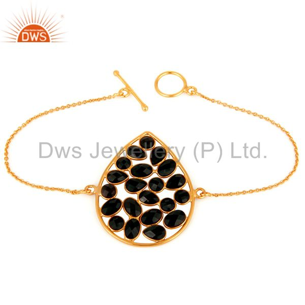 Black Onyx Gemstone 18ct Yellow Gold Plated on Sterling Silver Chain Bracelet