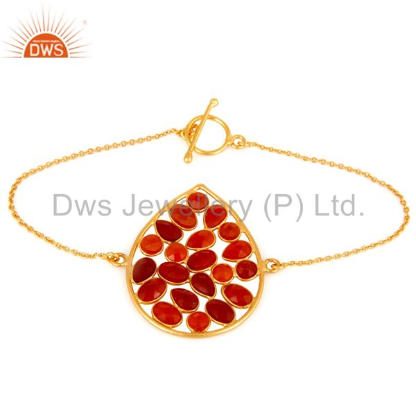 Red Onyx Gemstone 925 Sterling Silver With18K Yellow Gold-Plated Chain Bracelet