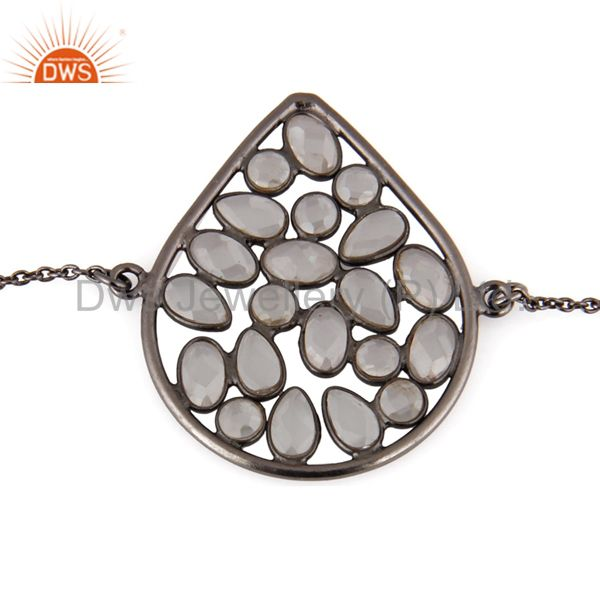 Oxidized Sterling Silver White Cubic Zirconia Fashion Chain Bracelet Jewelry