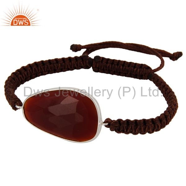 Designer 925 Sterling Silver Red Onyx Gemstone Macrame Bracelet Best Gift Jewelr