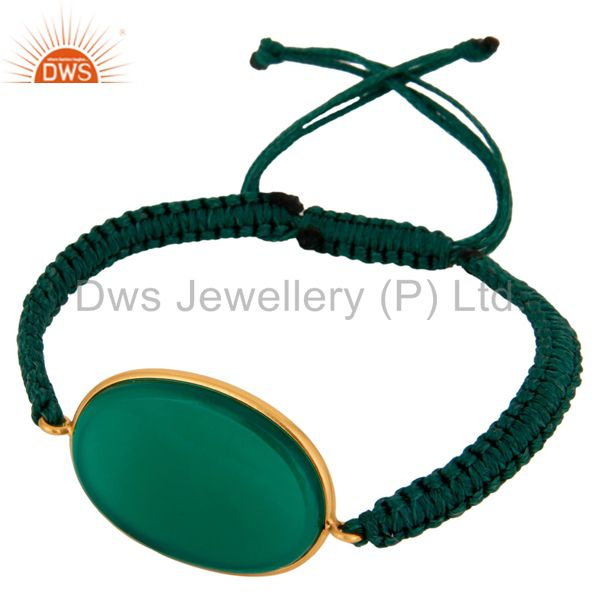 Natural Green Onyx Gemstone 24k Gold Plated 925 Silver Macrame Bracelet Jewelry