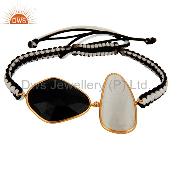 Gold Plated Black Onyx & Moonstone 925 Sterling Silver Fashion Macrame Bracelet