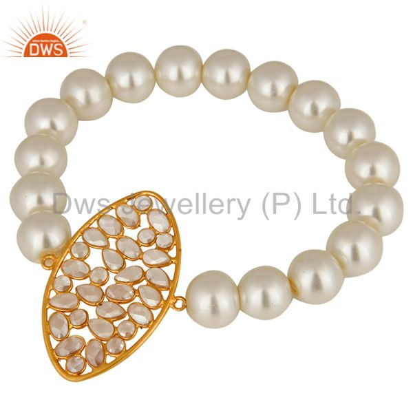 18K Yellow Gold Plated Sterling Silver CZ And White Pearl Beads Stretch Bracelet