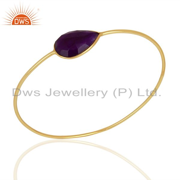 Aventurine Gemstone Gold Plated Silver Bangle Jewelry Supplier