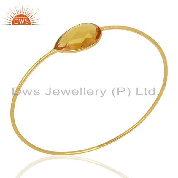Hydro Citrine Gemstone Gold Plated 925 Silver Bangle Supplier Jewelry