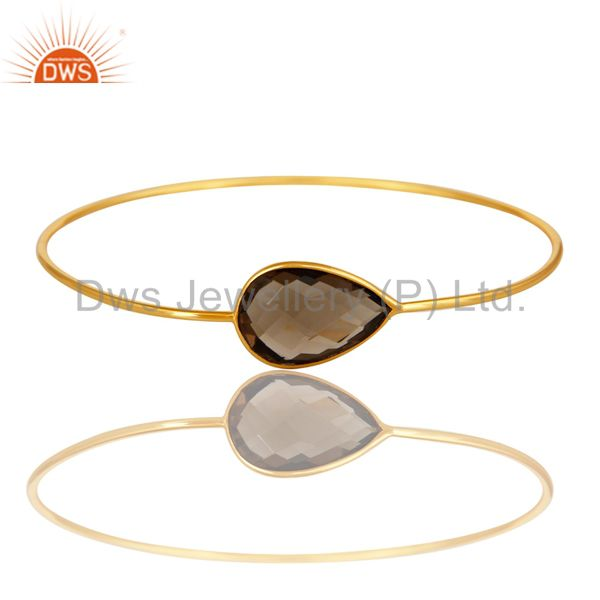 14k gold plated sterling silver faceted smokey quartz sleek bangle