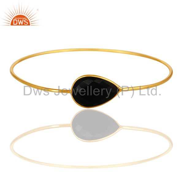 18K Yellow Gold Plated Sterling Silver Black Onyx Sleek Bangle Bracelet