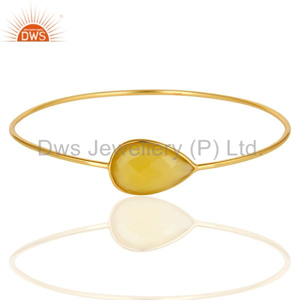14k yellow gold sterling silver yellow chalcedony stackable bangle