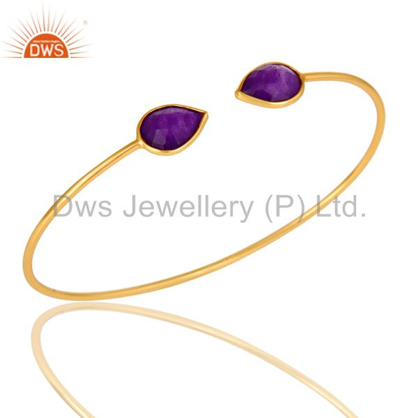 Purple Chalcedony Adjustable Stack Bangle Made In 14K Yellow Gold Plated Silver