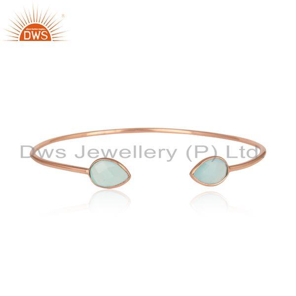 Aqua Chalcedony Adjustable Stack Bangle In Rose Gold On Silver 925