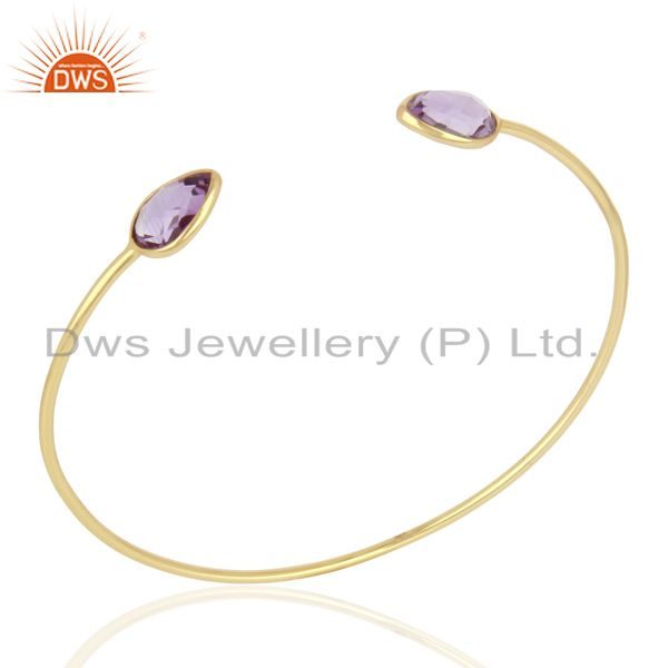 Amethyst Sleek 14K Yellow Gold Plated 925 Sterling Silver Cuff Bangle Jewelry