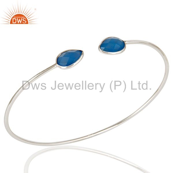 Handmade solid 925 sterling silver blue chalcedony open stackable bangle