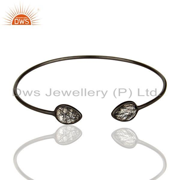 Black Rutile 925 Sterling Silver Women Bangle Manufacturers of Jewelry
