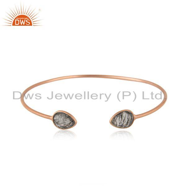Black Rutile Rose Gold Plated 925 Silver Cuff Bracelet Manufacturer India