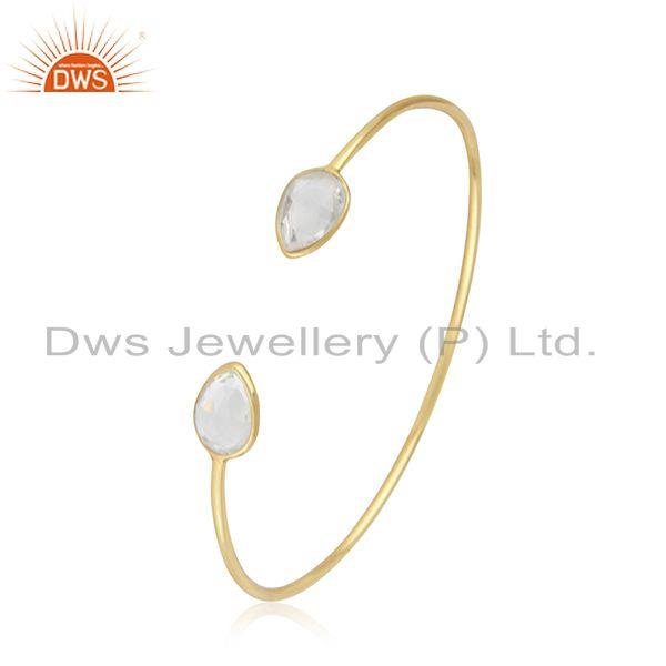 14k gold plated sterling silver crystal quartz simple cuff bangle manufacturer