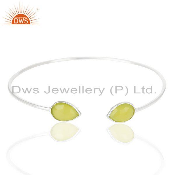 Prehnite Chalcedony Gemstone Fine Silver Sleek Bangle Manufacturer