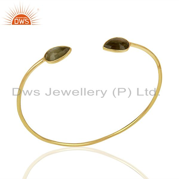Gold plated silver designer labradorite gemstone cuff bangle jewelry