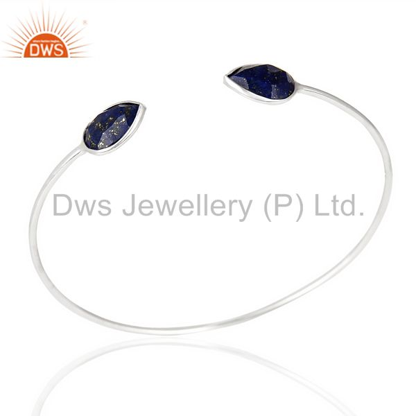 Lapis Adjustable Openable White Rhodium 92.5 Sterling Silver Bangle