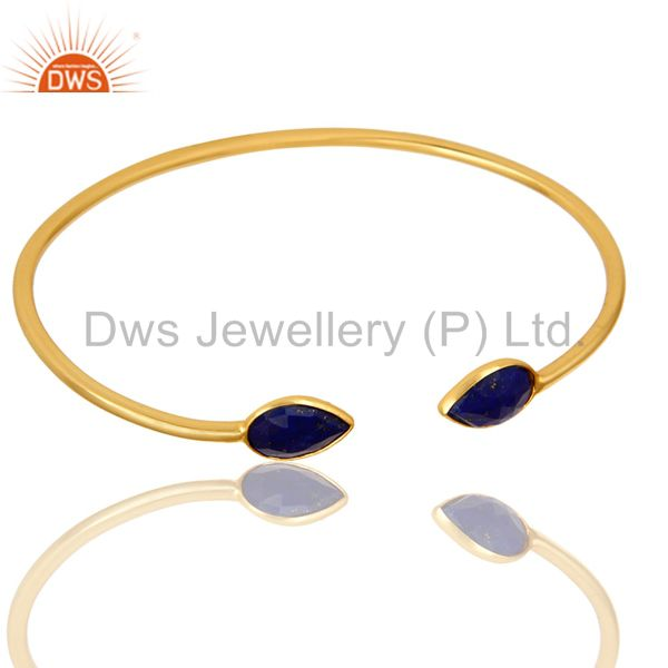 18K Yellow Gold Plated Sterling Silver Lapis Lazuli Gemstone Open Bangle