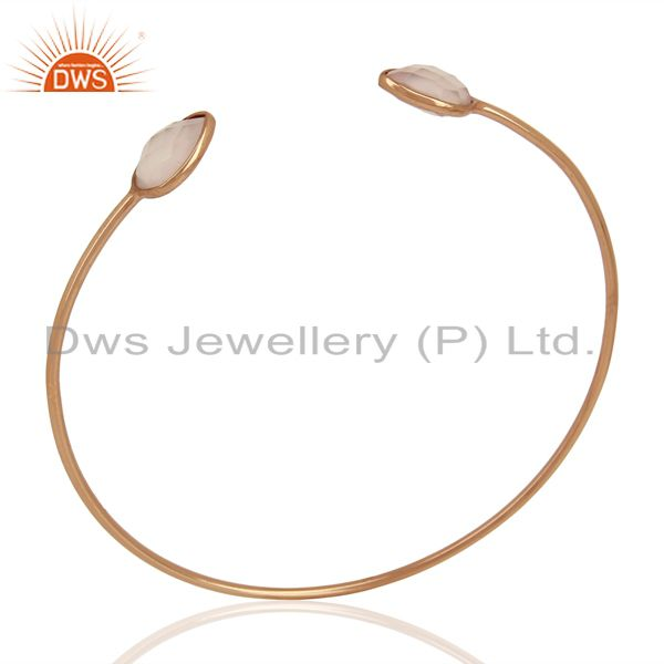 Rose chalcedony gemstone 925 silver rose gold plated silver cuff