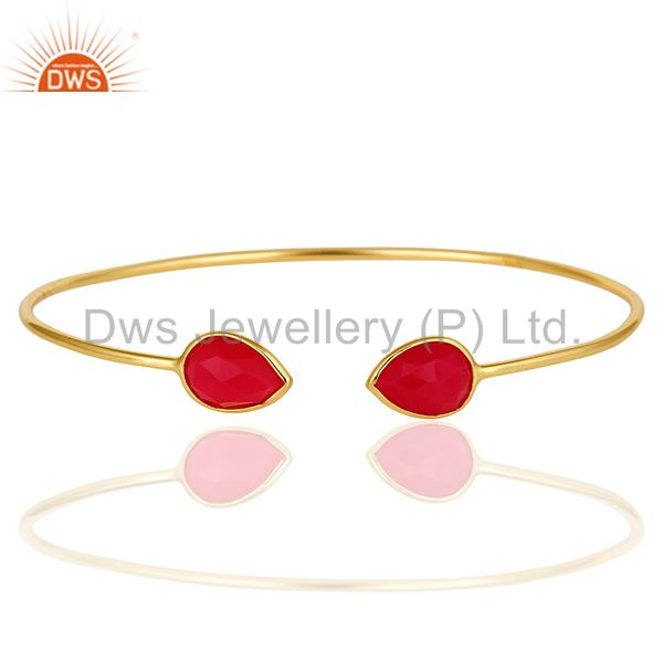 Dyed Pink Chalcedony Gemstone 18K Yellow Gold Plated Sterling Silver Bangle