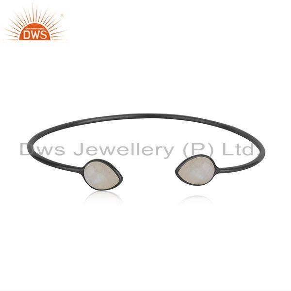 Black rhodium plated 925 silver rainbow moonstone cuff bangle suppliers india