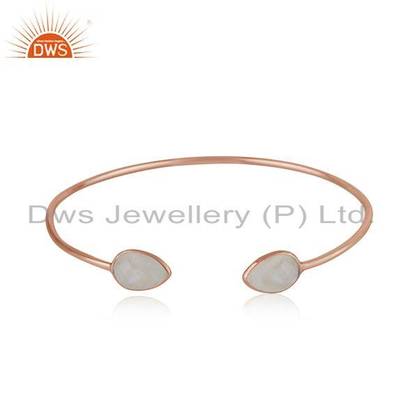 Rose gold plated 925 silver rainbow moonstone simple cuff bracelet wholesaler
