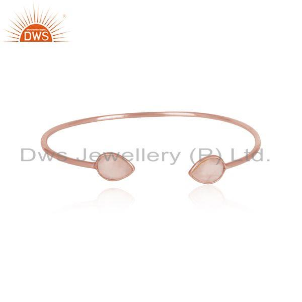 Designer sleek cuff in rose gold on silver 925 and rose quartz