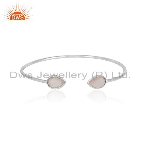 Designer sleek cuff in solid silver 925 adorn with rose quartz