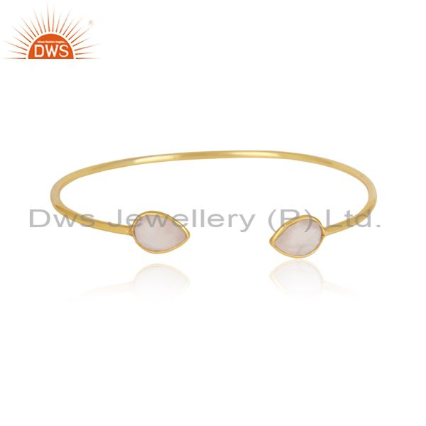 Designer Sleek Cuff in Yellow gold on Silver 925 and Rose Quartz