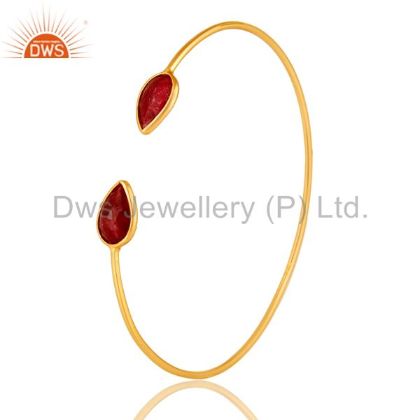 14K Gold Plated Sterling Silver Red Corundum Sleek Adjustable Bangle Bracelet