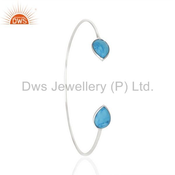 Turquoise Adjustable Openable White Rhodium 92.5 Sterling Silver Bangle