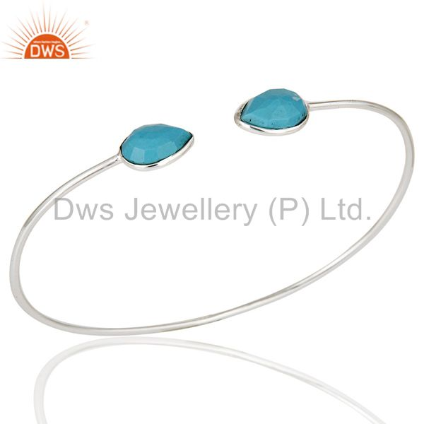 Solid 925 sterling silver turquoise gemstone stackable open bangle jewellery