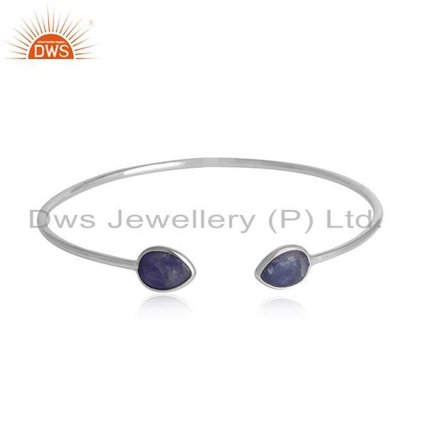 Tanzanite gemstone girls white rhodium plated silver cuff bangle