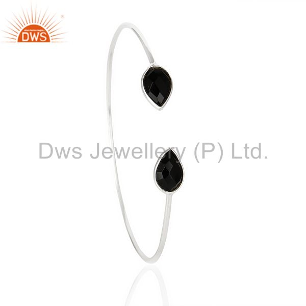 Black Onyx Adjustable Openable White Rhodium 92.5 Sterling Silver Bangle